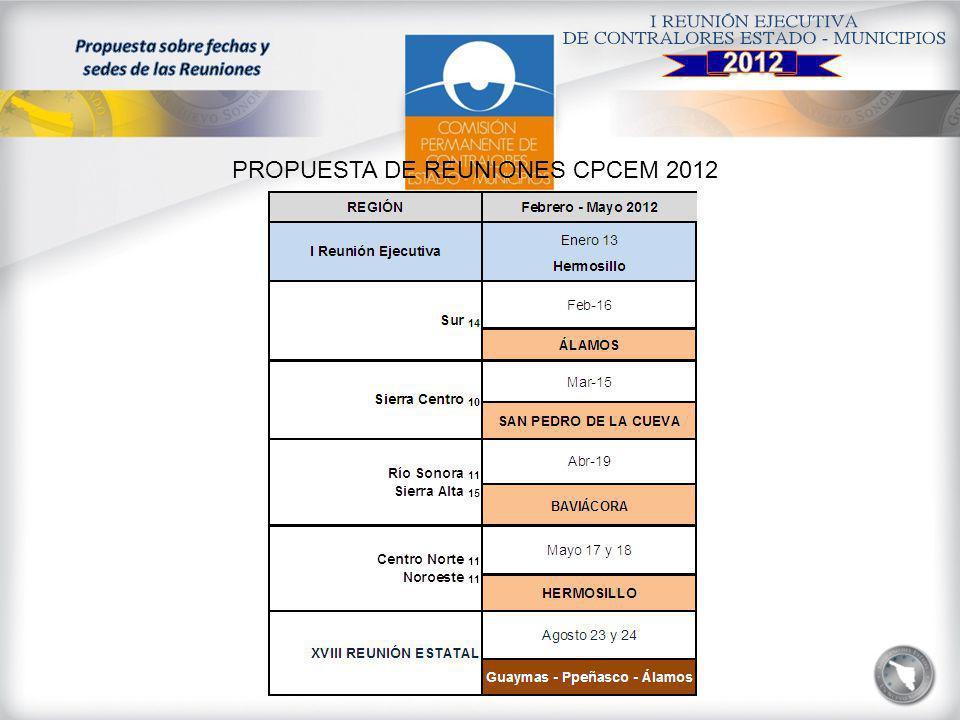 PROPUESTA DE REUNIONES CPCEM 2012