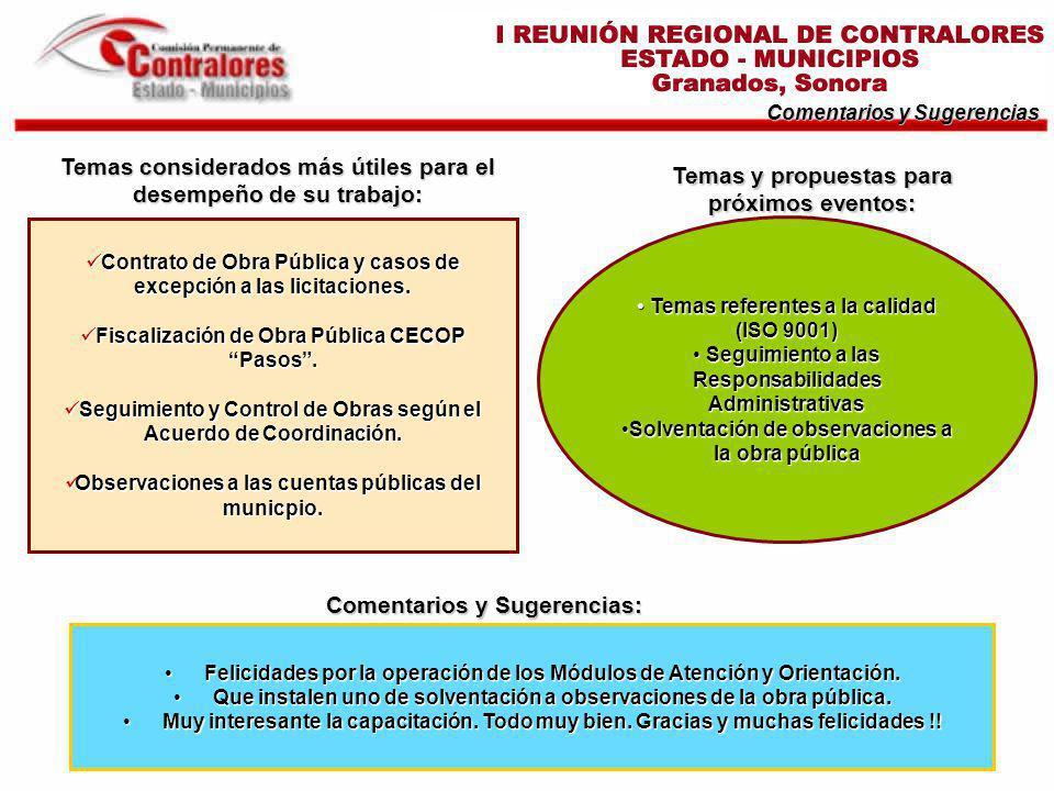Temas considerados más útiles para el desempeño de su trabajo: Comentarios y Sugerencias Contrato de Obra Pública y casos de excepción a las licitacio