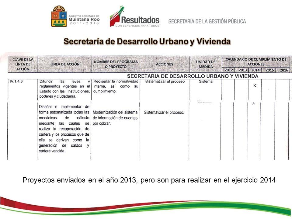 Proyectos enviados en el año 2013, pero son para realizar en el ejercicio 2014