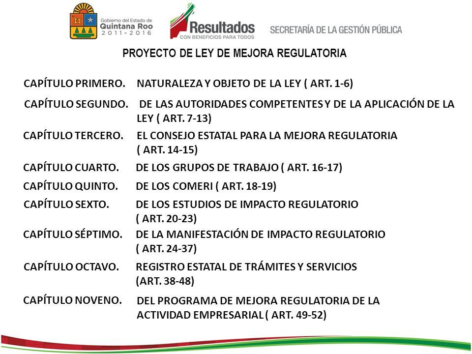 PROYECTO DE LEY DE MEJORA REGULATORIA CAPÍTULO PRIMERO.