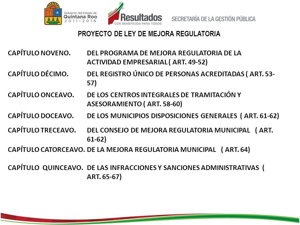 PROYECTO DE LEY DE MEJORA REGULATORIA CAPÍTULO NOVENO.DEL PROGRAMA DE MEJORA REGULATORIA DE LA ACTIVIDAD EMPRESARIAL ( ART.