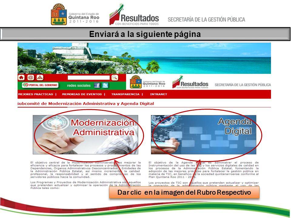 Para el ejemplo de Modernización Administrativa, una vez dado click enviará a las siguientes opciones: