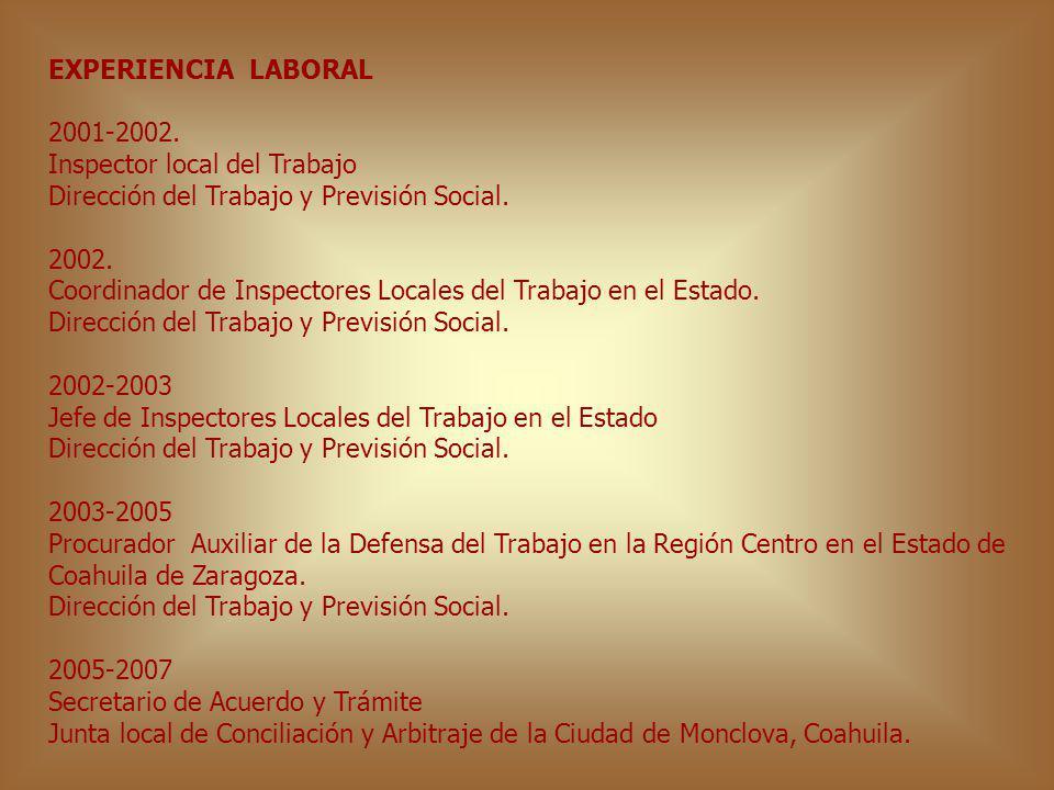 EXPERIENCIA LABORAL 2001-2002. Inspector local del Trabajo Dirección del Trabajo y Previsión Social. 2002. Coordinador de Inspectores Locales del Trab