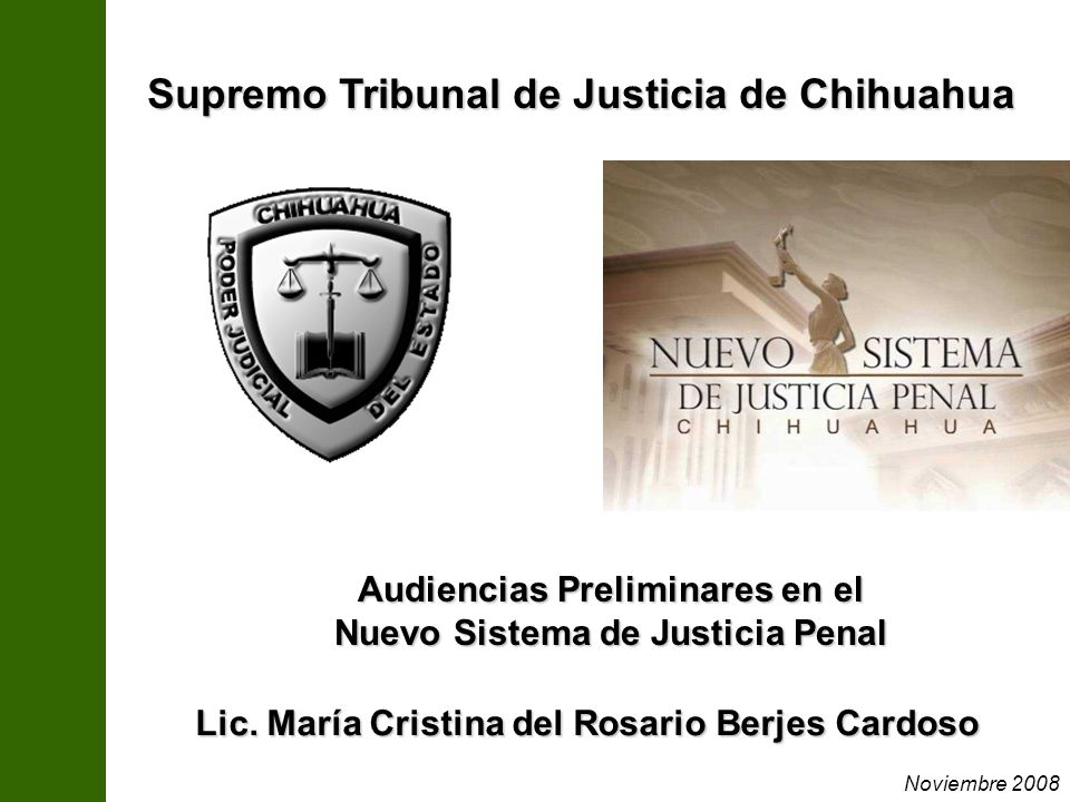 Lic. María Cristina del Rosario Berjes Cardoso Audiencias Preliminares en el Nuevo Sistema de Justicia Penal Supremo Tribunal de Justicia de Chihuahua