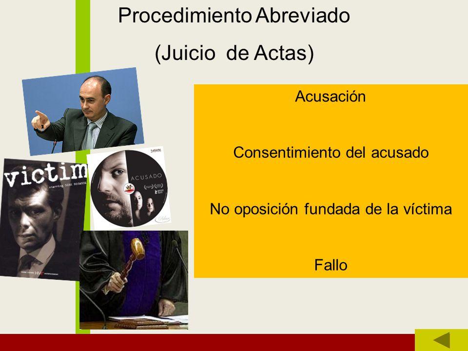 Procedimiento Abreviado (Juicio de Actas) Acusación Consentimiento del acusado No oposición fundada de la víctima Fallo