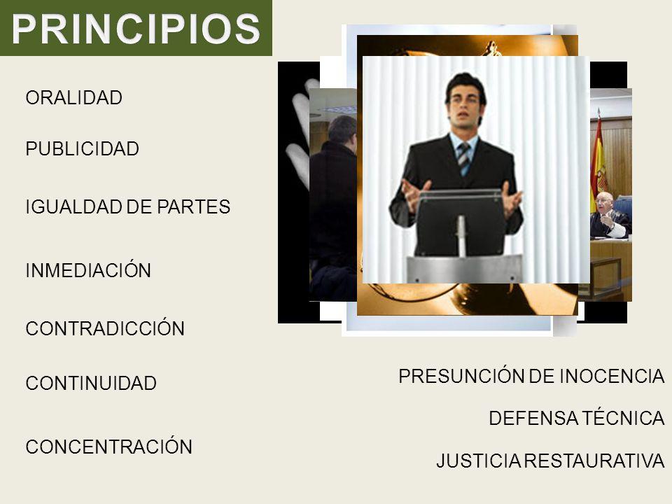 ORALIDAD PRESUNCIÓN DE INOCENCIA PUBLICIDAD IGUALDAD DE PARTES CONTINUIDAD INMEDIACIÓN CONTRADICCIÓN CONCENTRACIÓN DEFENSA TÉCNICA JUSTICIA RESTAURATIVA