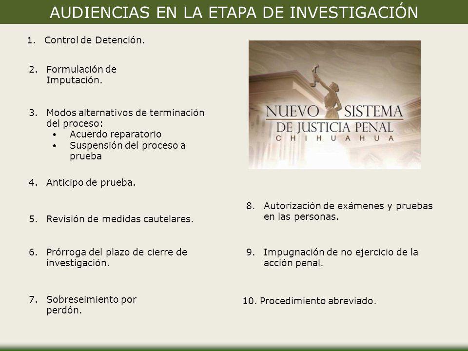 AUDIENCIAS EN LA ETAPA DE INVESTIGACIÓN 1.Control de Detención.Control de Detención.
