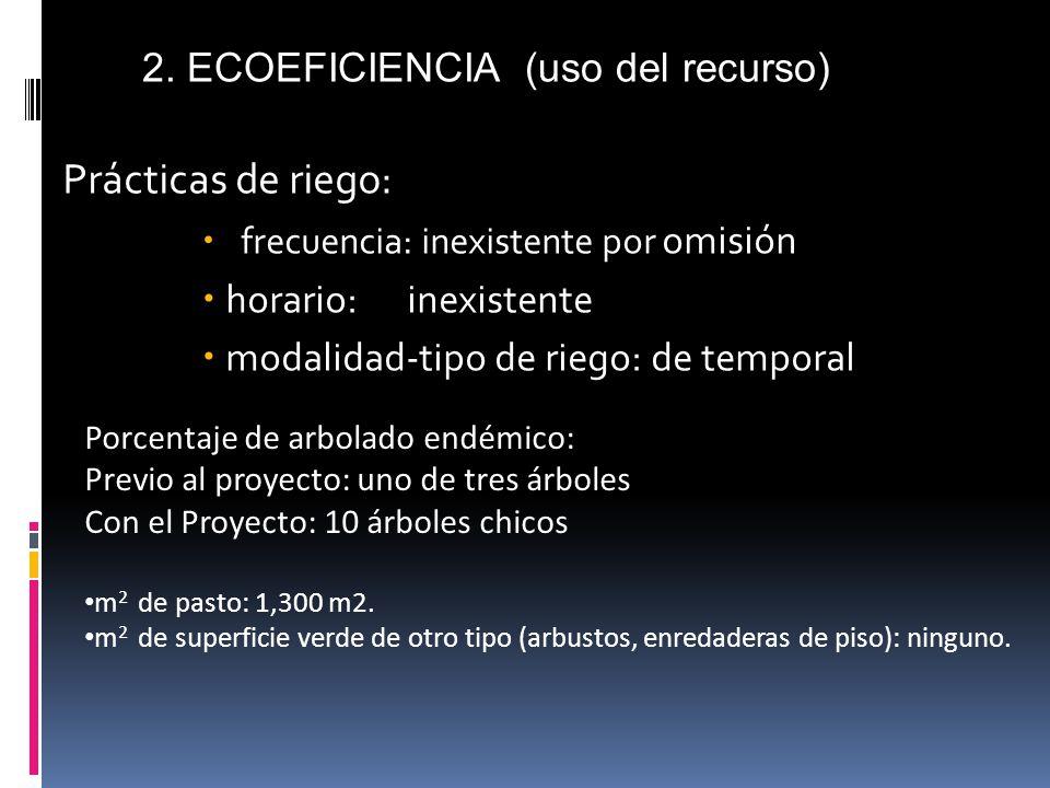 Prácticas de riego: frecuencia: inexistente por omisión horario: inexistente modalidad-tipo de riego: de temporal 2.