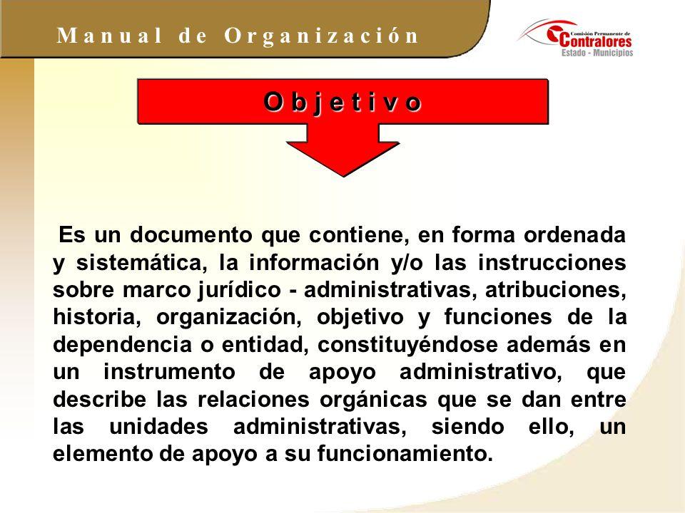 M a n u a l d e O r g a n i z a c i ó n O b j e t i v o Es un documento que contiene, en forma ordenada y sistemática, la información y/o las instrucc