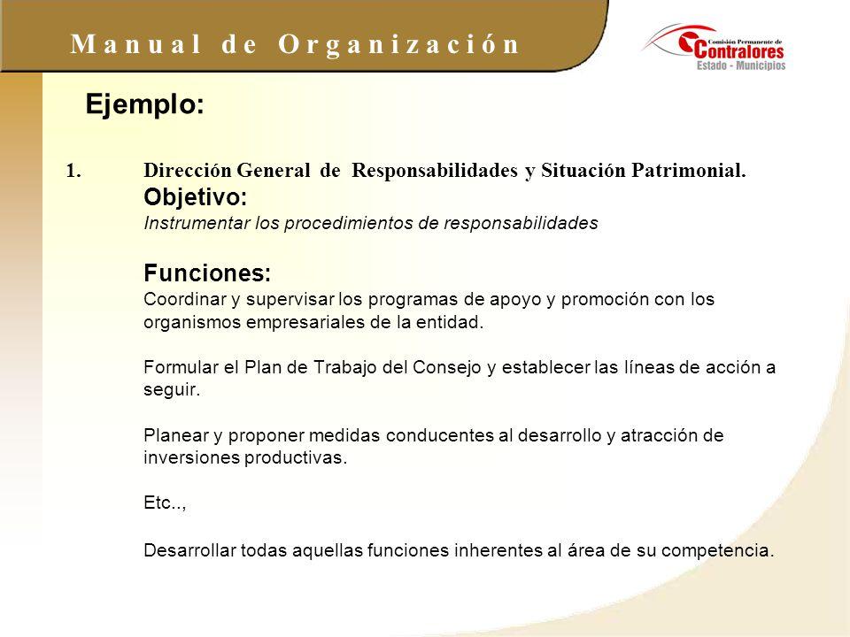 M a n u a l d e O r g a n i z a c i ó n 1.Dirección General de Responsabilidades y Situación Patrimonial. Objetivo: Instrumentar los procedimientos de