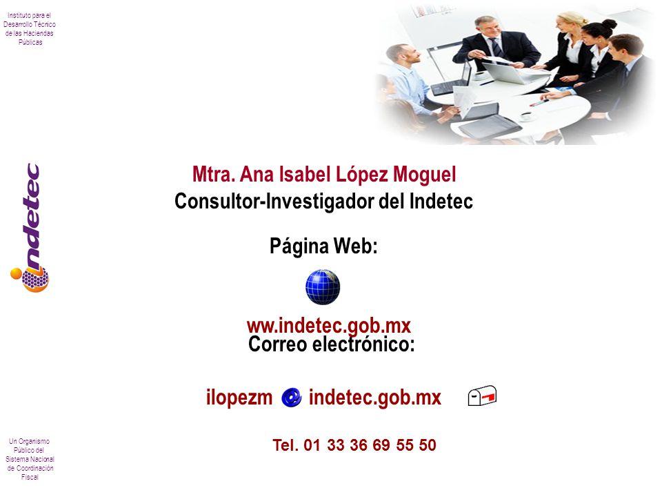 Instituto para el Desarrollo Técnico de las Haciendas Públicas Un Organismo Público del Sistema Nacional de Coordinación Fiscal Mtra. Ana Isabel López