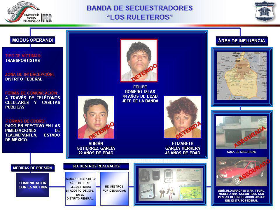 03MMIII BANDA DE SECUESTRADORES LOS RULETEROS ÁREA DE INFLUENCIA MODUS OPERANDI MEDIDAS DE PRESIÓN TIPO DE VÍCTIMAS: TRANSPORTISTAS ZONA DE INTERCEPCIÓN: DISTRITO FEDERAL FORMA DE COMUNICACIÓN: A TRAVÉS DE TELÉFONOS CELULARES Y CASETAS PÚBLICAS FORMAS DE COBRO: PAGO EN EFECTIVO EN LAS INMEDIACIONES DE TLALNEPANTLA, ESTADO DE MÉXICO.