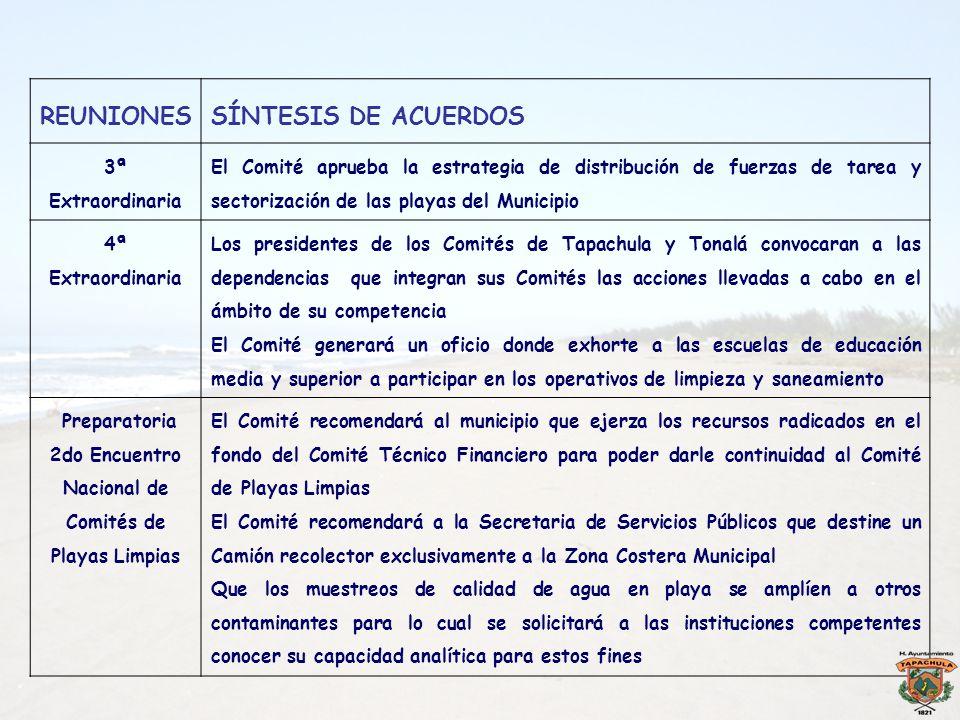 REUNIONESSÍNTESIS DE ACUERDOS 3ª Extraordinaria El Comité aprueba la estrategia de distribución de fuerzas de tarea y sectorización de las playas del