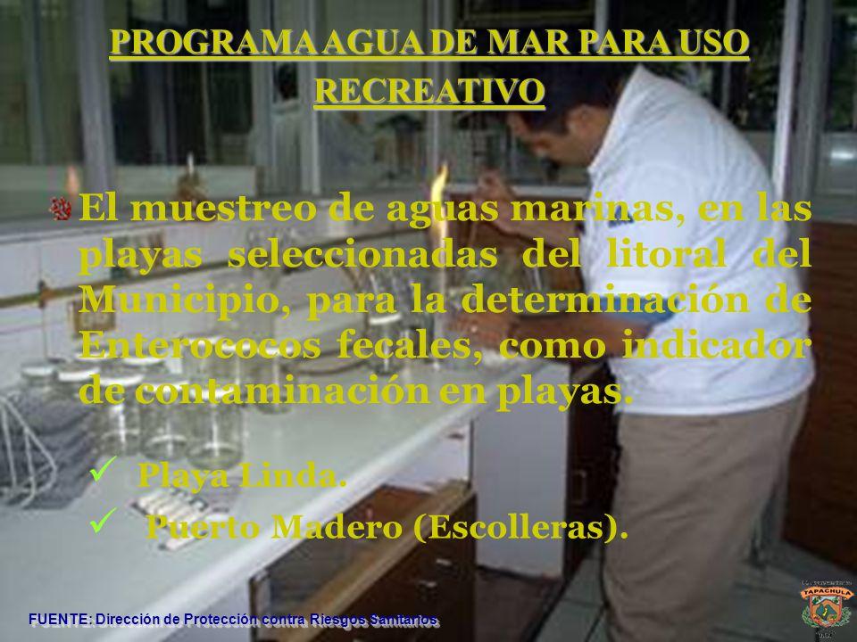 PROGRAMA AGUA DE MAR PARA USO RECREATIVO FUENTE: Dirección de Protección contra Riesgos Sanitarios El muestreo de aguas marinas, en las playas selecci