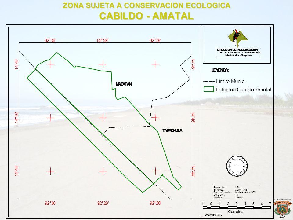 ZONA SUJETA A CONSERVACION ECOLOGICA CABILDO - AMATAL 92°30' 92°30' 92°28' 92°28' 92°26' 92°26' 1 4 ° 4 4 ' 1 4 ° 4 4 ' 1 4 ° 4 6 ' 1 4 ° 4 6 ' 1 4 °