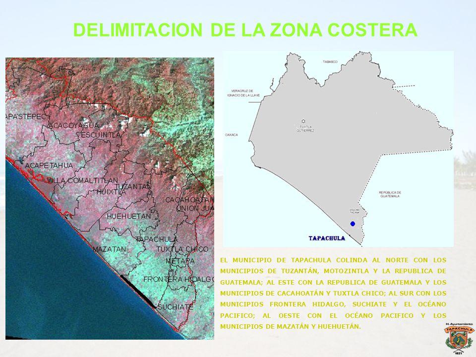 DELIMITACION DE LA ZONA COSTERA EL MUNICIPIO DE TAPACHULA COLINDA AL NORTE CON LOS MUNICIPIOS DE TUZANTÁN, MOTOZINTLA Y LA REPUBLICA DE GUATEMALA; AL