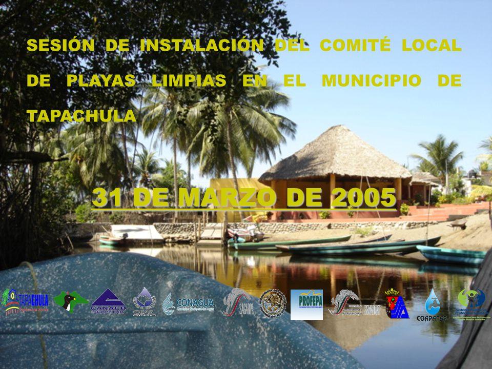 SESIÓN DE INSTALACIÓN DEL COMITÉ LOCAL DE PLAYAS LIMPIAS EN EL MUNICIPIO DE TAPACHULA 31 DE MARZO DE 2005