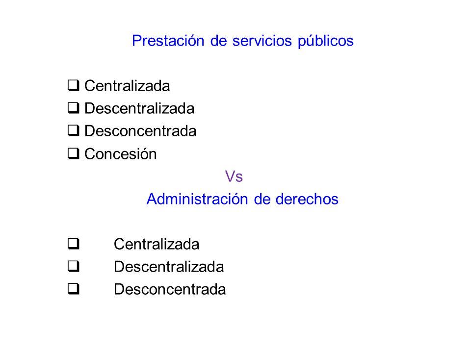 Prestación de servicios públicos Centralizada Descentralizada Desconcentrada Concesión Vs Administración de derechos Centralizada Descentralizada Desc