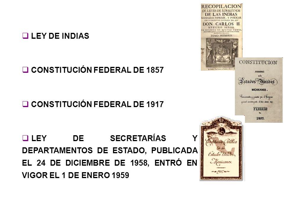 LEY DE INDIAS CONSTITUCIÓN FEDERAL DE 1857 CONSTITUCIÓN FEDERAL DE 1917 LEY DE SECRETARÍAS Y DEPARTAMENTOS DE ESTADO, PUBLICADA EL 24 DE DICIEMBRE DE