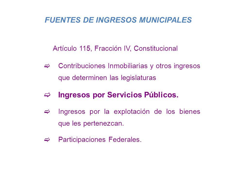 FUENTES DE INGRESOS MUNICIPALES Artículo 115, Fracción IV, Constitucional Contribuciones Inmobiliarias y otros ingresos que determinen las legislatura