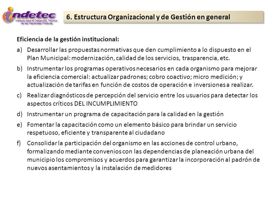 6. Estructura Organizacional y de Gestión en general Eficiencia de la gestión institucional: a)Desarrollar las propuestas normativas que den cumplimie