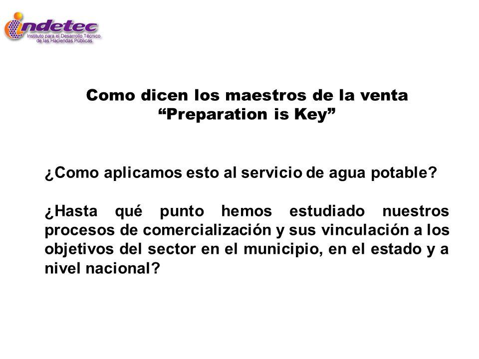 Como dicen los maestros de la venta Preparation is Key ¿Como aplicamos esto al servicio de agua potable? ¿Hasta qué punto hemos estudiado nuestros pro