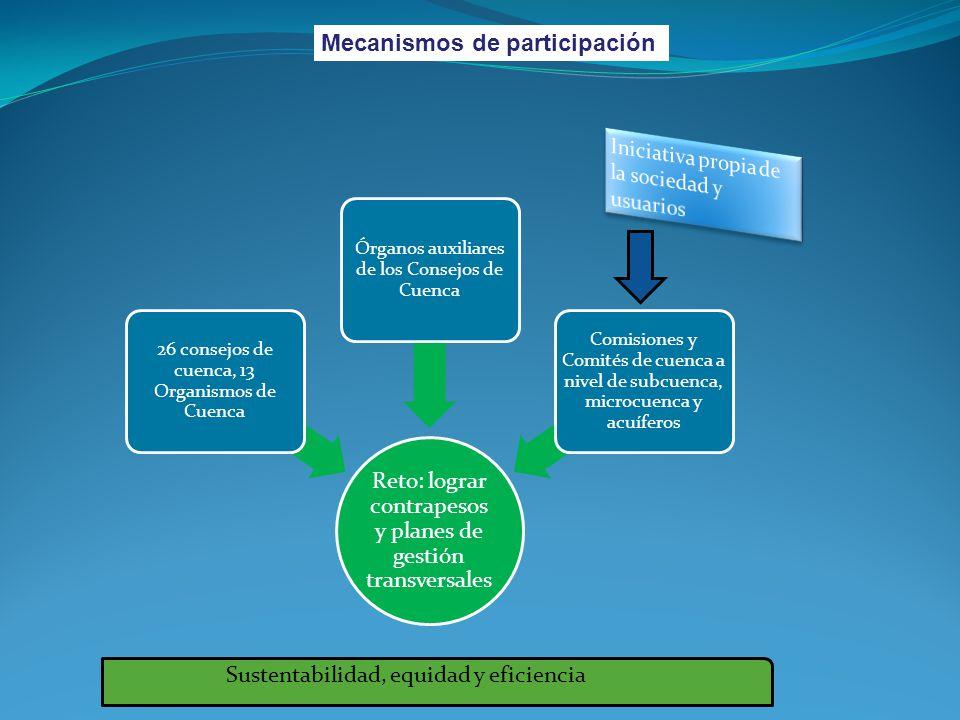 Mecanismos de participación Reto: lograr contrapesos y planes de gestión transversales 26 consejos de cuenca, 13 Organismos de Cuenca Órganos auxiliar