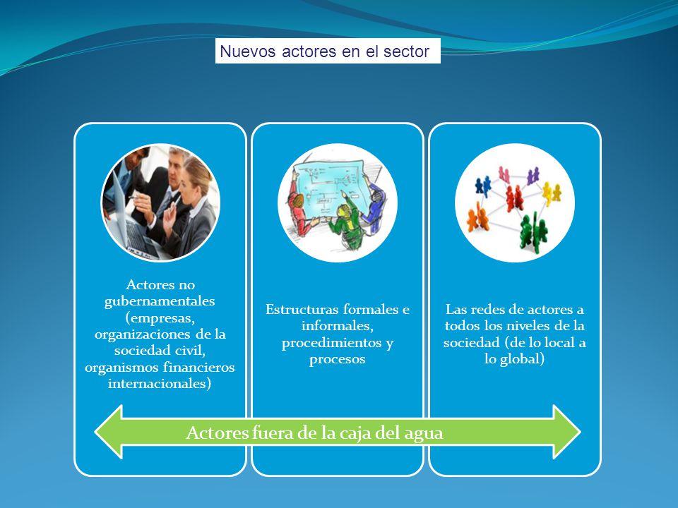 Nuevos actores en el sector Actores no gubernamentales (empresas, organizaciones de la sociedad civil, organismos financieros internacionales) Estruct
