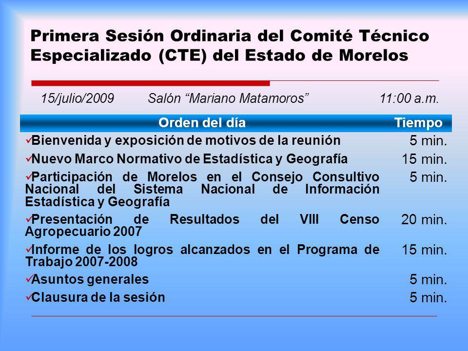 Primera Sesión Ordinaria del Comité Técnico Especializado (CTE) del Estado de Morelos Orden del díaTiempo Bienvenida y exposición de motivos de la reu