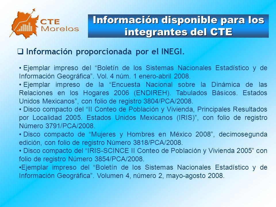 Información disponible para los integrantes del CTE Información proporcionada por el INEGI. Ejemplar impreso del Boletín de los Sistemas Nacionales Es