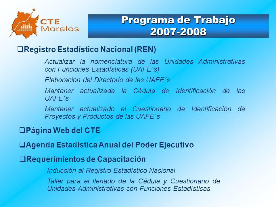Programa de Trabajo 2007-2008 Registro Estadístico Nacional (REN) Actualizar la nomenclatura de las Unidades Administrativas con Funciones Estadística
