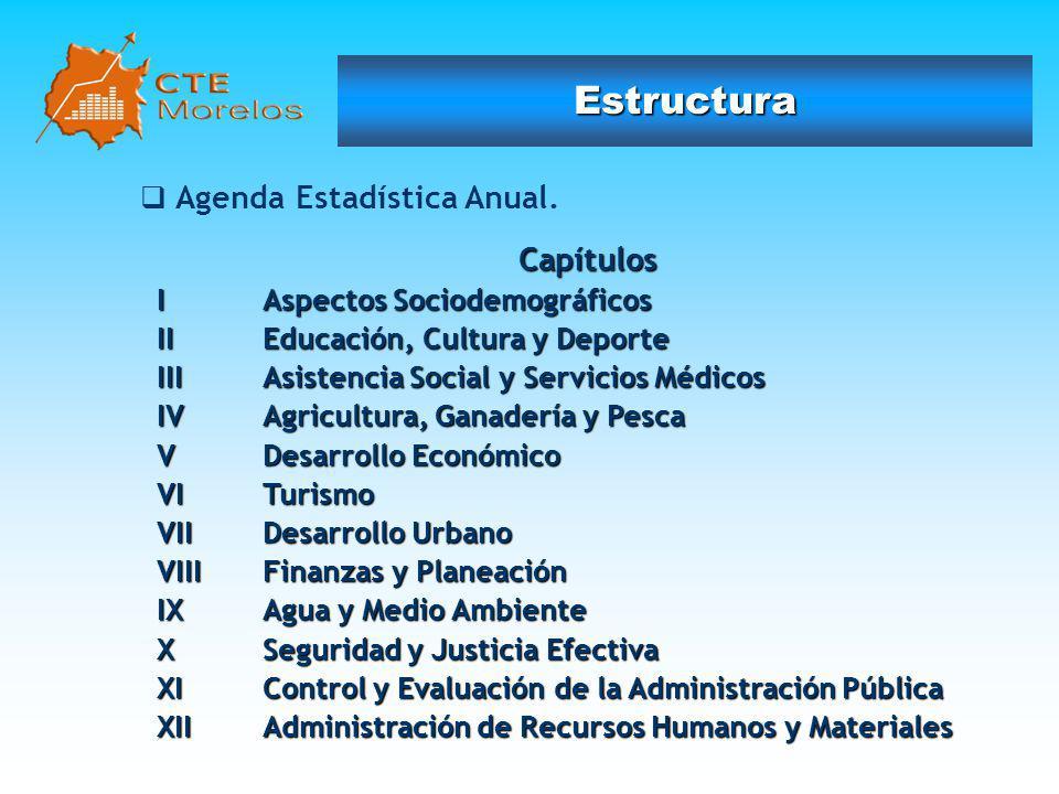 Estructura Agenda Estadística Anual. Capítulos I Aspectos Sociodemográficos II Educación, Cultura y Deporte III Asistencia Social y Servicios Médicos
