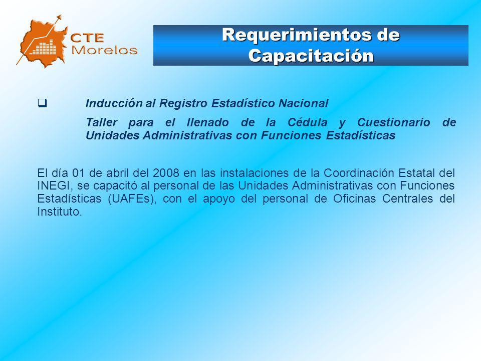 Requerimientos de Capacitación Inducción al Registro Estadístico Nacional Taller para el llenado de la Cédula y Cuestionario de Unidades Administrativ