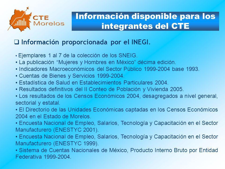 Información disponible para los integrantes del CTE Información proporcionada por el INEGI. Ejemplares 1 al 7 de la colección de los SNEIG. La publica