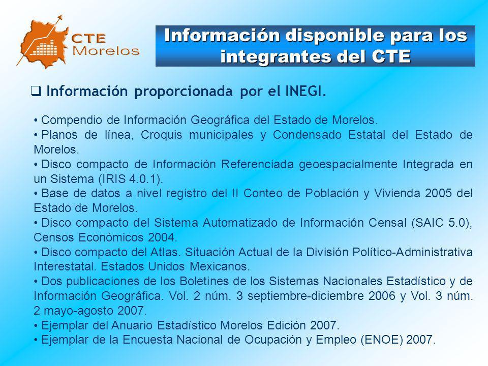 Información disponible para los integrantes del CTE Información proporcionada por el INEGI. Compendio de Información Geográfica del Estado de Morelos.