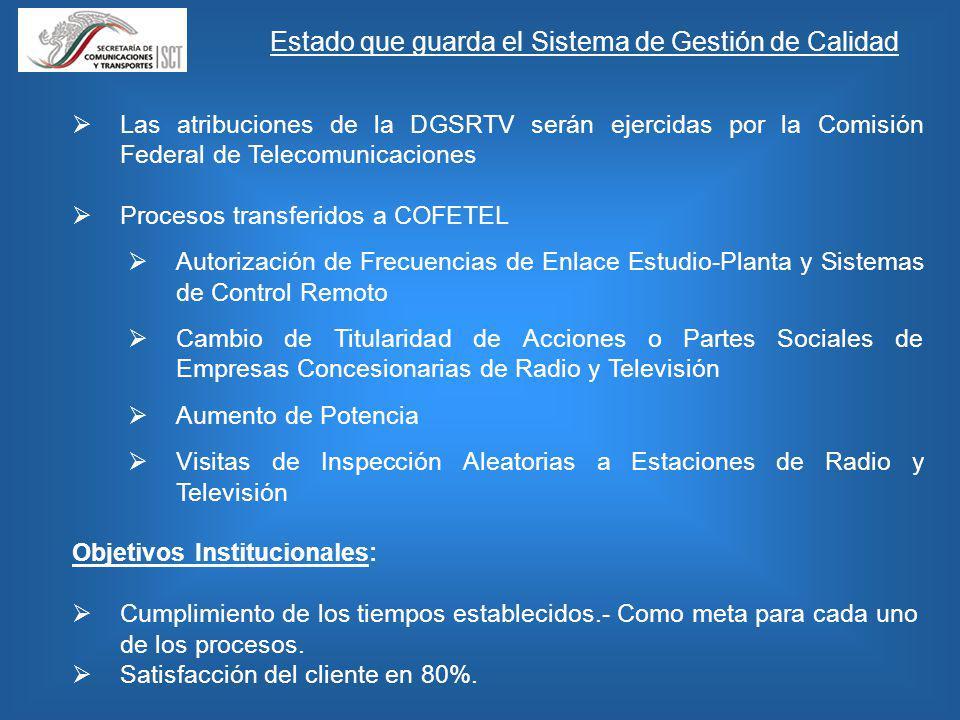 Las atribuciones de la DGSRTV serán ejercidas por la Comisión Federal de Telecomunicaciones Procesos transferidos a COFETEL Autorización de Frecuencia
