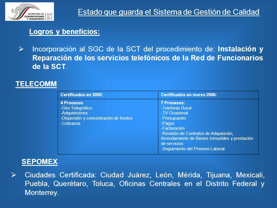 Logros y beneficios: Incorporación al SGC de la SCT del procedimiento de: Instalación y Reparación de los servicios telefónicos de la Red de Funcionarios de la SCT.