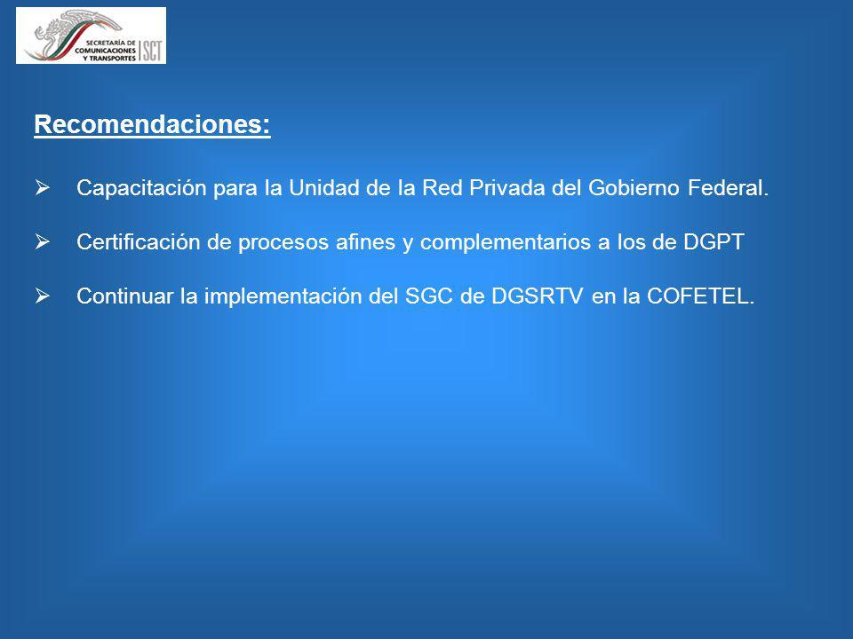 Recomendaciones: Capacitación para la Unidad de la Red Privada del Gobierno Federal. Certificación de procesos afines y complementarios a los de DGPT