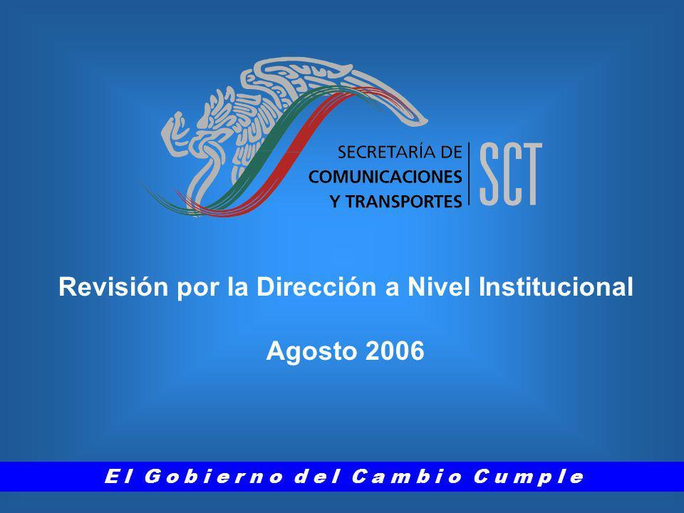 Revisión por la Dirección a Nivel Institucional Agosto 2006 E l G o b i e r n o d e l C a m b i o C u m p l e