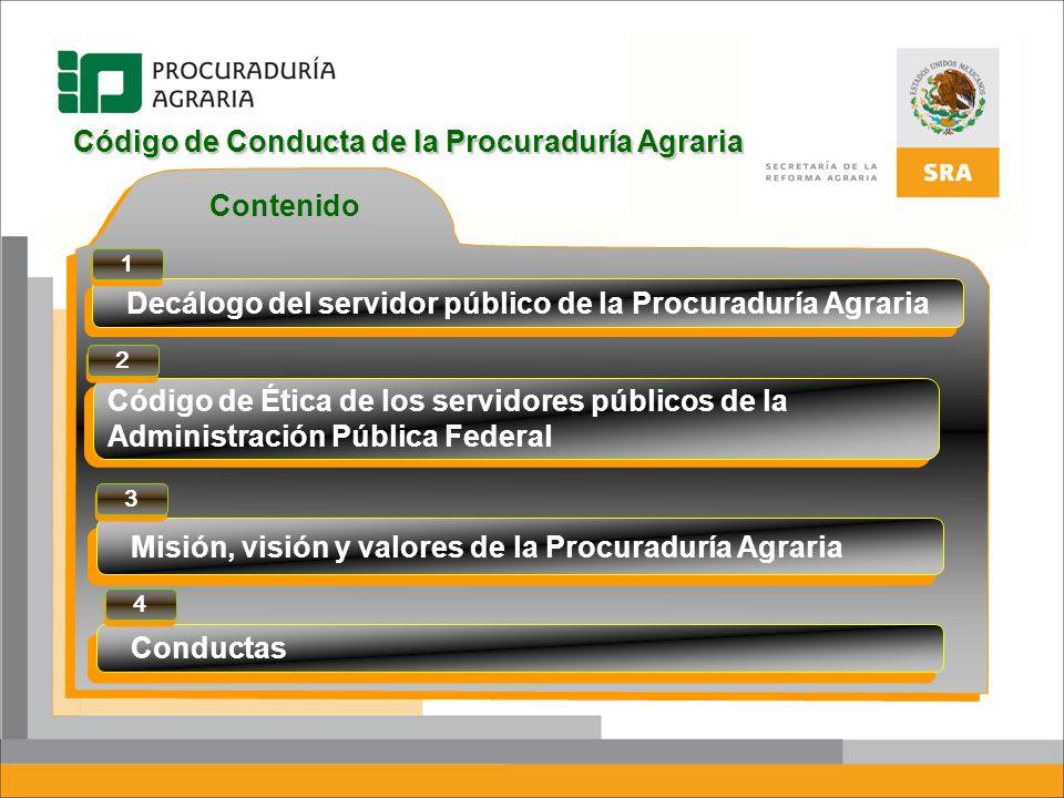 Contenido Código de Conducta de la Procuraduría Agraria Conductas Código de Ética de los servidores públicos de la Administración Pública Federal Decá