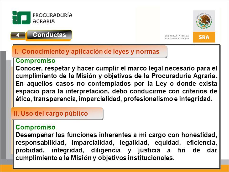 Compromiso Conocer, respetar y hacer cumplir el marco legal necesario para el cumplimiento de la Misión y objetivos de la Procuraduría Agraria. En aqu