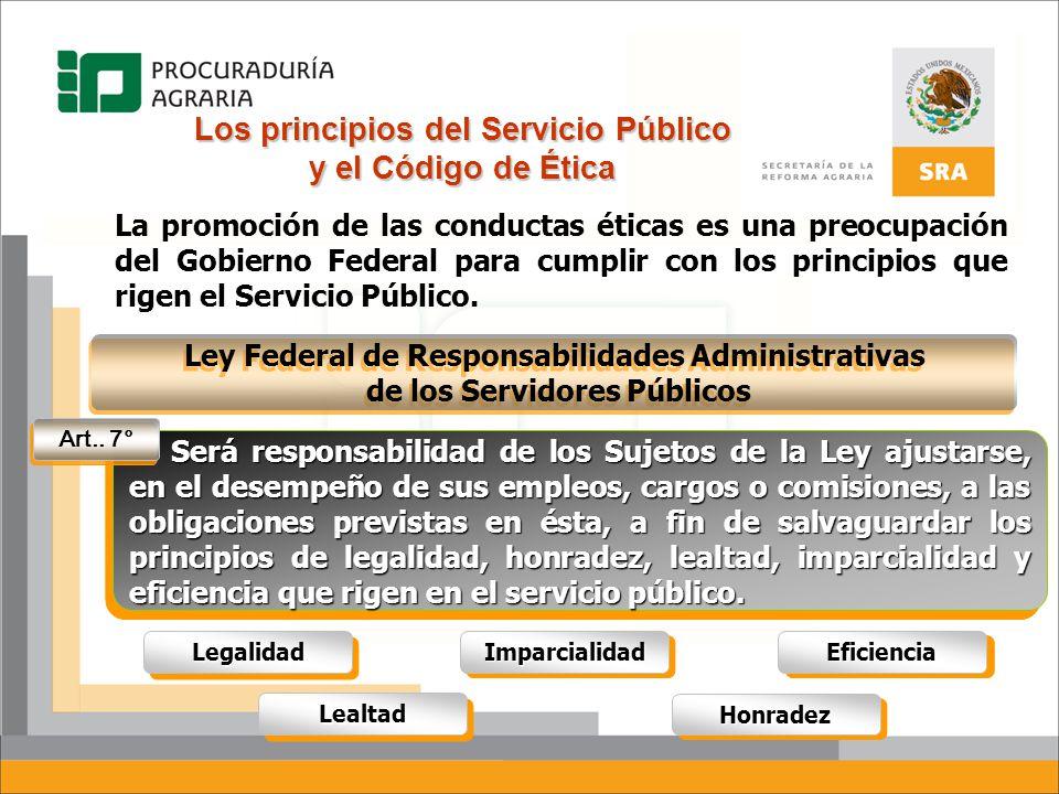 Código de Ética Los principios del Servicio Público se tradujeron en un Código de Ética publicado en el Diario Oficial de La Federación el 31 de julio del 2002 por la Secretaría de la Función Pública en cumplimiento de la Ley Federal de Responsabilidades Administrativas de los Servidores Públicos.