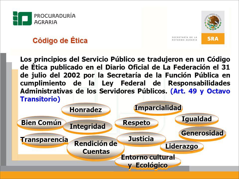 Código de Ética Los principios del Servicio Público se tradujeron en un Código de Ética publicado en el Diario Oficial de La Federación el 31 de julio