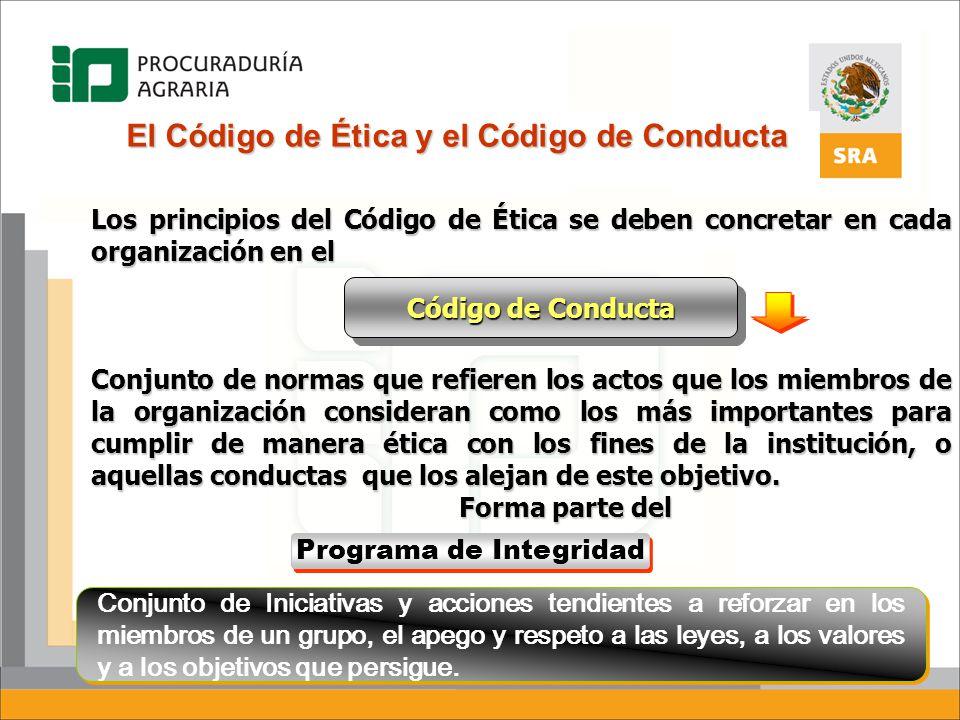 El Código de Ética y el Código de Conducta Los principios del Código de Ética se deben concretar en cada organización en el Conjunto de normas que ref