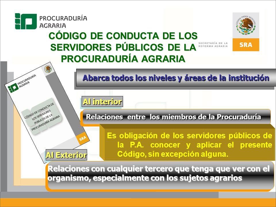 CÓDIGO DE CONDUCTA DE LOS SERVIDORES PÚBLICOS DE LA PROCURADURÍA AGRARIA Abarca todos los niveles y áreas de la institución Al interior Al Exterior Re