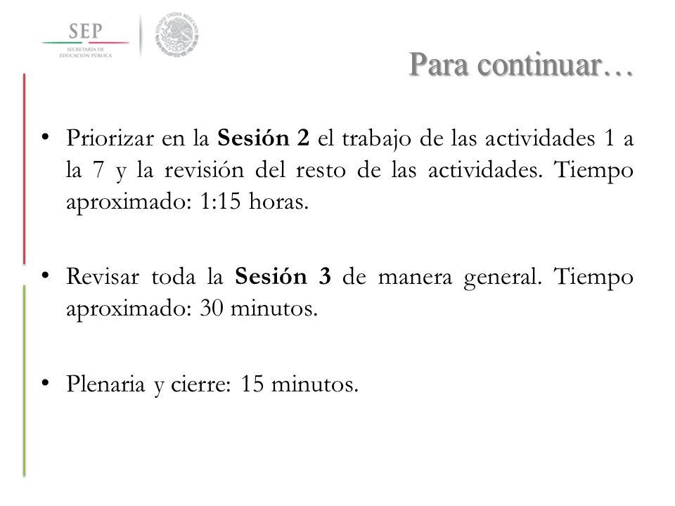 Para continuar… Priorizar en la Sesión 2 el trabajo de las actividades 1 a la 7 y la revisión del resto de las actividades. Tiempo aproximado: 1:15 ho