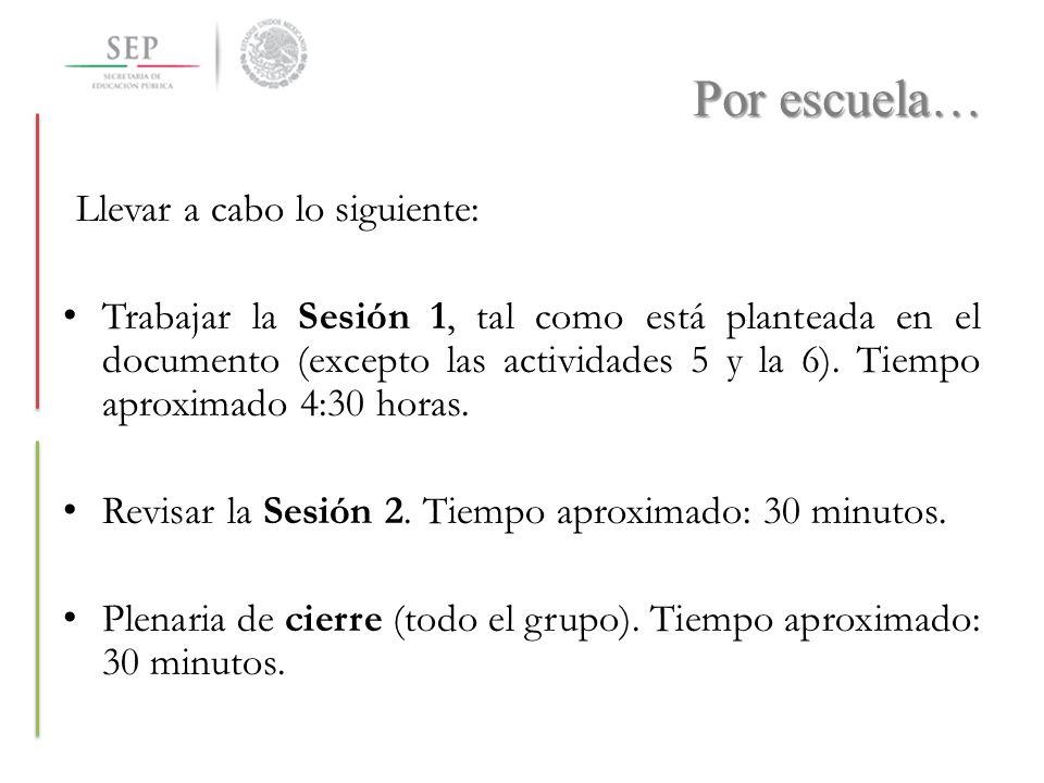 Por escuela… Llevar a cabo lo siguiente: Trabajar la Sesión 1, tal como está planteada en el documento (excepto las actividades 5 y la 6). Tiempo apro