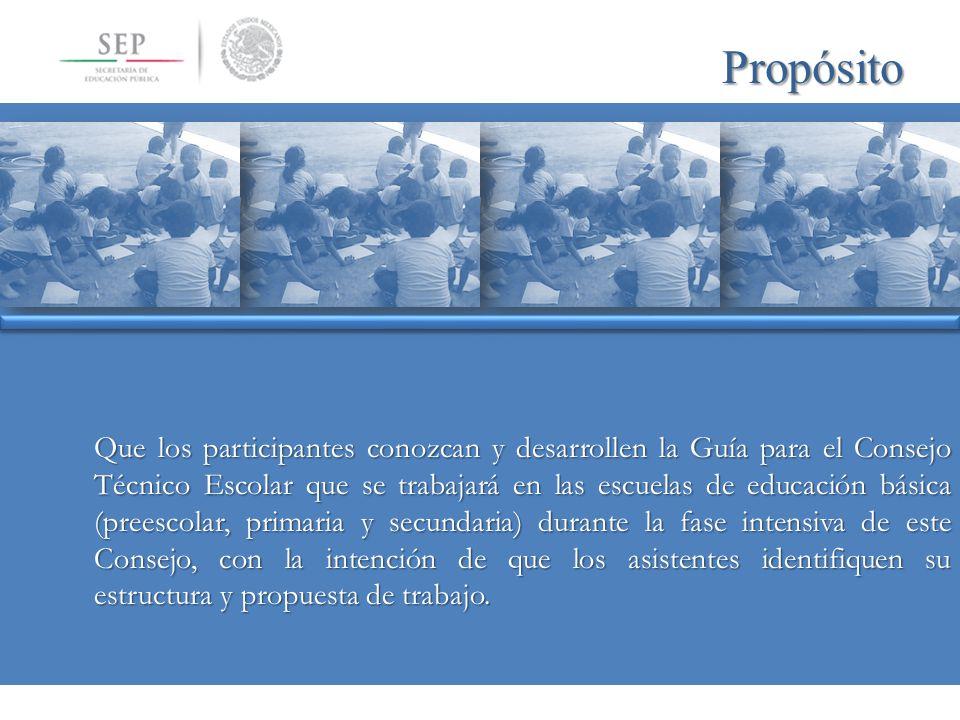 Propósito Que los participantes conozcan y desarrollen la Guía para el Consejo Técnico Escolar que se trabajará en las escuelas de educación básica (p