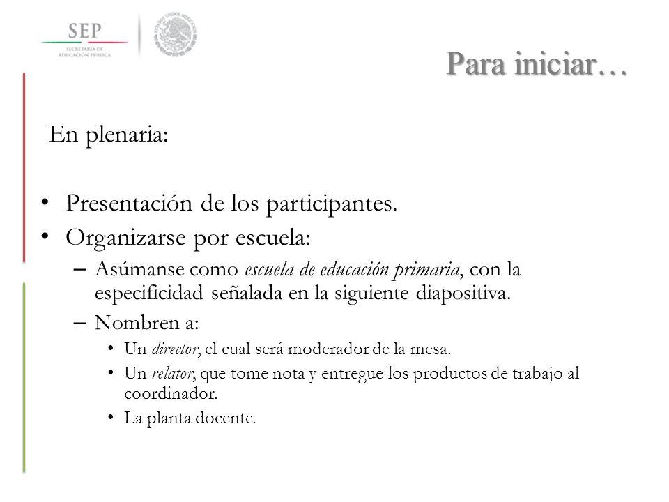 Para iniciar… En plenaria: Presentación de los participantes. Organizarse por escuela: – Asúmanse como escuela de educación primaria, con la especific