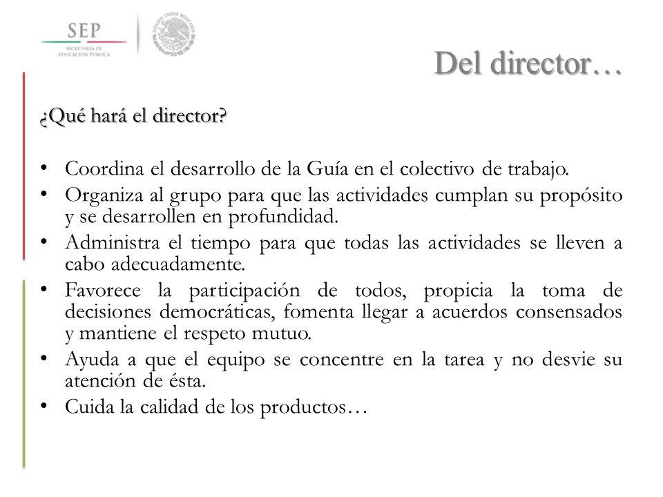Del director… ¿Qué hará el director? Coordina el desarrollo de la Guía en el colectivo de trabajo. Organiza al grupo para que las actividades cumplan
